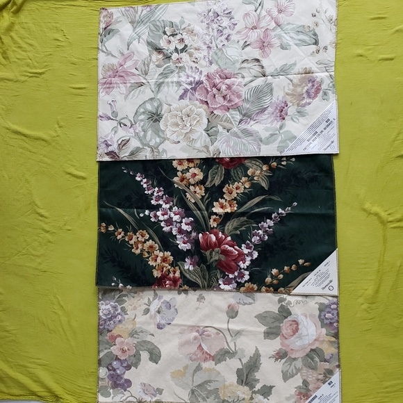 3 Vintage Floral Upholstery Fabric Samples 26 X 17